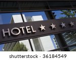 Detail of a four stars hotel with reflection - stock photo