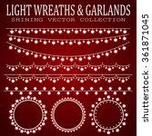 glowing wreaths and garlands.... | Shutterstock .eps vector #361871045