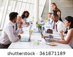 caucasian businesswoman leading ... | Shutterstock . vector #361871189