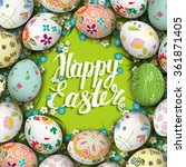 easter eggs and flowers on the... | Shutterstock .eps vector #361871405