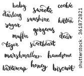 set of brushpen lettering and... | Shutterstock .eps vector #361872821