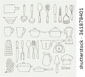 kitchen utensils doodle vector... | Shutterstock .eps vector #361878401