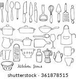 kitchen utensils doodle vector... | Shutterstock .eps vector #361878515