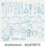 kitchen utensils doodle vector... | Shutterstock .eps vector #361878575