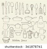 kitchen utensils doodle vector... | Shutterstock .eps vector #361878761