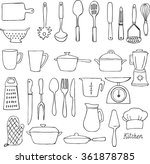kitchen utensils doodle vector... | Shutterstock .eps vector #361878785