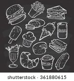set of hand drawn food and... | Shutterstock .eps vector #361880615