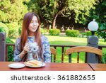 asia girl teenage and breakfast ... | Shutterstock . vector #361882655