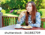 asia girl teenage and breakfast ... | Shutterstock . vector #361882709