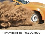 Rally Car Turning In Track