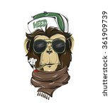 Hipster Monkey Print For T...