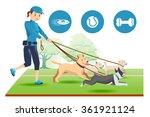 senior trainer have control her ... | Shutterstock .eps vector #361921124