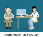 hard of hearing elderly man... | Shutterstock .eps vector #361929989