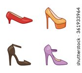 Women Shoes Vector Icons