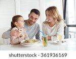 happy family having dinner at... | Shutterstock . vector #361936169