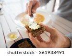 close up of hands applying... | Shutterstock . vector #361938491