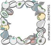 fruit design with plums  apples ... | Shutterstock .eps vector #361945931