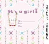 baby girl arrival card. baby... | Shutterstock .eps vector #361950569
