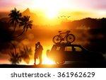 Silhouette Love Couple And Bik...