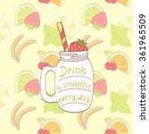 cartoon hand drawn mason jar... | Shutterstock .eps vector #361965509