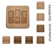 set of carved wooden server...