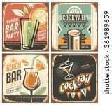 cocktail bar retro tin sign set.... | Shutterstock .eps vector #361989659