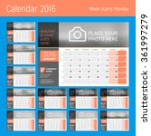 calendar planner for 2016 year. ... | Shutterstock .eps vector #361997279