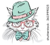 cat in a cap and glasses.... | Shutterstock .eps vector #361999025