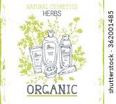 organic cosmetics frame. hand
