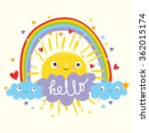 cute sun and clouds with a...   Shutterstock .eps vector #362015174