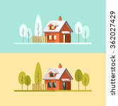 winter house. summer house.... | Shutterstock .eps vector #362027429