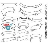 vector set of ribbons and... | Shutterstock .eps vector #362034314