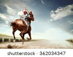 Stock photo racing horse coming first to finish line in vintage style 362034347