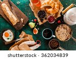 wholesome rustic breakfast with ... | Shutterstock . vector #362034839