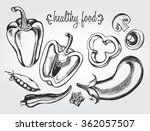 hand drawn set of vegetables  ... | Shutterstock .eps vector #362057507