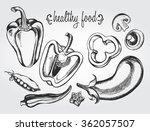 hand drawn set of vegetables  ... | Shutterstock .eps vector #362057507