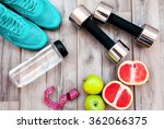 fitness equipment. healthy food.... | Shutterstock . vector #362066375