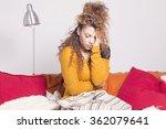 poor sick woman  pain and... | Shutterstock . vector #362079641