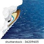 Sailing Ship And White Smoke...