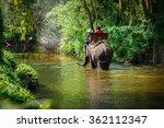 tourist riding on elephants... | Shutterstock . vector #362112347