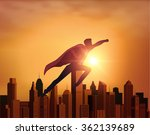business superhero with city | Shutterstock .eps vector #362139689
