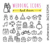 hand drawn wedding icons ... | Shutterstock .eps vector #362152934