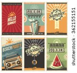 Stock vector set of retro summer holiday posters travel and vacation vintage signs collection sun summer and 362155151