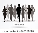 marathon runners  crowd of... | Shutterstock .eps vector #362173589
