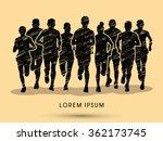 marathon runners  crowd of... | Shutterstock .eps vector #362173745