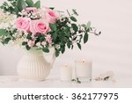 bouquet of roses with candles | Shutterstock . vector #362177975