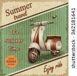 summer travel retro poster with ... | Shutterstock . vector #362181641