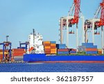 container stack and ship under... | Shutterstock . vector #362187557