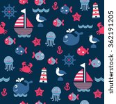 childish dark blue cartoon sea... | Shutterstock .eps vector #362191205