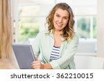 woman using tablet computer in... | Shutterstock . vector #362210015